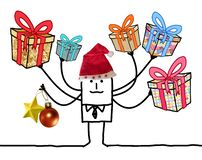 Cartoon Man with Multi Gifts and Santa red Hat royalty free stock photography