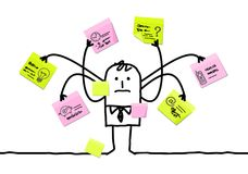 Cartoon Man Multitasking with Sticky Notes Royalty Free Stock Photos