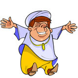 Cartoon man in Muslim clothing is happy Royalty Free Stock Photos