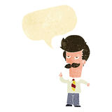 Cartoon man with mustache explaining with speech bubble Stock Image