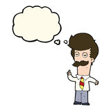 Cartoon man with mustache explaining with thought bubble Royalty Free Stock Photos