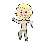 Cartoon man with mustache pointing Royalty Free Stock Photos