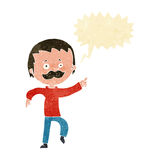 Cartoon man with mustache pointing with speech bubble Royalty Free Stock Image