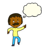 Cartoon man with mustache pointing with thought bubble Royalty Free Stock Photo