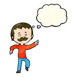 Cartoon man with mustache pointing with thought bubble Stock Image