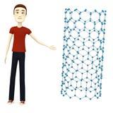 Cartoon man with nanotube Stock Photos