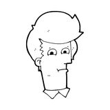 Cartoon man narrowing eyes. Black and White Line cartoon in retro style.  Vector available Royalty Free Stock Image