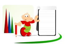 Cartoon man and notepad, cdr vector Royalty Free Stock Photography