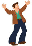 Cartoon man with open mouth holding hands up Royalty Free Stock Photo