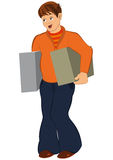 Cartoon man in orange holding two big boxes Stock Photography