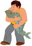 Cartoon man in orange sleeveless top with big fish Stock Photo