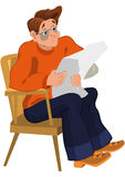 Cartoon man in orange sweater reading newspaper in armchair Royalty Free Stock Photos