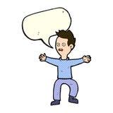 Cartoon man panicking with speech bubble Stock Images