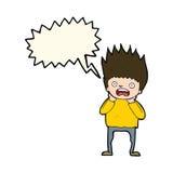 Cartoon man panicking with speech bubble Royalty Free Stock Photos
