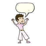 Cartoon man panicking with speech bubble Stock Image