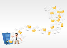 Cartoon man and papers and folders flying. Cartoon man surprised by papers and folders flying from cabinet files Royalty Free Stock Image