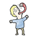 cartoon man with parasite Royalty Free Stock Image