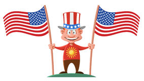Cartoon man in the patriotic hat holding two American flags. Cartoon styled vector illustration. Elements is grouped.  No gradient, no transparent objects Stock Photography