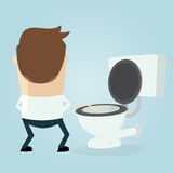 Cartoon man peeing on the toilet seat Stock Photo