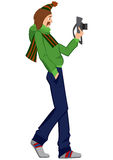Cartoon man with photo camera walking Royalty Free Stock Photo