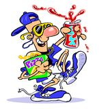 Cartoon man with pizza a soda. Cartoon caricature of man carrying pizza and soda wearing baseball cap and sunglasses Stock Image