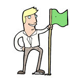 Cartoon man planting flag Royalty Free Stock Image