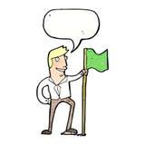 Cartoon man planting flag with speech bubble Stock Photos