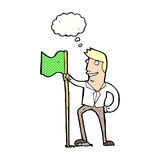 Cartoon man planting flag with thought bubble Royalty Free Stock Photo