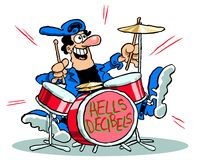 Cartoon man playing drums. Cartoon caricature of man playing drum set with graphics Hells Decibels Stock Photo
