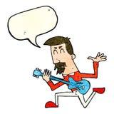 cartoon man playing electric guitar with speech bubble Stock Photos