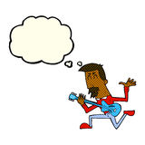 Cartoon man playing electric guitar with thought bubble Royalty Free Stock Image