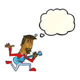 Cartoon man playing electric guitar with thought bubble Royalty Free Stock Photos