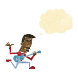 Cartoon man playing electric guitar with thought bubble Stock Image