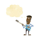 Cartoon man playing electric guitar with thought bubble Stock Photos