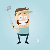 Cartoon man playing golf. Funny cartoon man is playing golf Stock Photo