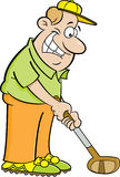 Cartoon man playing golf. Cartoon illustration of a man playing golf Stock Photo