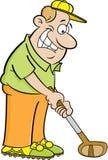 Cartoon man playing golf. Stock Photo
