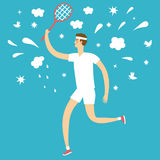 Cartoon man playing tennis. Stock Image