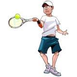 Cartoon man playing tennis. Strikes the ball Stock Images