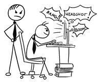 Cartoon of Man Playing Video Game on Computer Screen during Job. Cartoon vector doodle stickman playing video game on computer screen during work job with angry Royalty Free Stock Photography