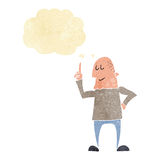 Cartoon man pointing finger with thought bubble Royalty Free Stock Photos
