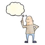 Cartoon man pointing finger with thought bubble Stock Images