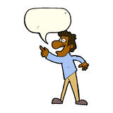 Cartoon man pointing and laughing with speech bubble Royalty Free Stock Images