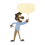 Cartoon man pointing and laughing with speech bubble Royalty Free Stock Photography