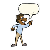 Cartoon man pointing and laughing with speech bubble Stock Image