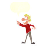 Cartoon man pointing and laughing with speech bubble Stock Photography