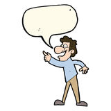 Cartoon man pointing and laughing with speech bubble Stock Images