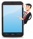 Cartoon Man Pointing Smartphone Stock Photos