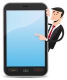 Cartoon Man Pointing Smartphone Stock Photos