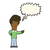 Cartoon man pointing with speech bubble Royalty Free Stock Image